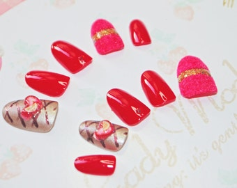 Japanese kawaii 3D nail art false nail, fake nails, chocolate nail, red and brown, 3D heart, Valentine, wedding, party, lolita accessory,