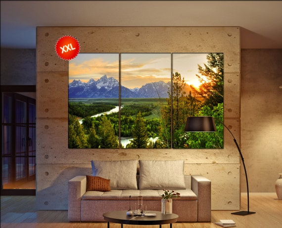 Grand Teton  print  on canvas wall art Grand Teton at Snake River photo art work framed art artwork office decor