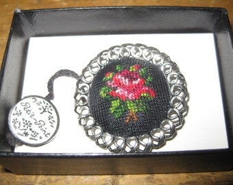 Lovely Vintage German Hand Made Petit Point Brooch, Pin, Boxed