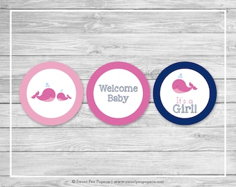Whale Baby Shower Cupcake Toppers - Printable Baby Shower Cupcake Toppers - Pink Whale Baby Shower - Whale Cupcake Toppers - SP128