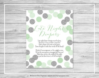 Mint and Silver Baby Shower Late Night Diapers Sign - Printable Baby Shower Late Night Diapers - Mint and Silver Baby Shower - SP125