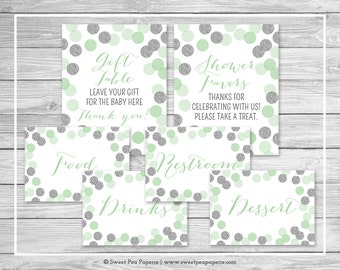 Mint and Silver Baby Shower Table Signs - Printable Baby Shower Table Signs - Mint and Silver Baby Shower - Table Signs - EDITABLE - SP125