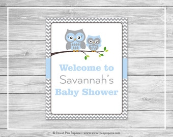 Owl Baby Shower Welcome Sign - Printable Baby Shower Welcome Sign - Blue Owl Baby Shower - Owl Shower Welcome Sign - EDITABLE - SP135