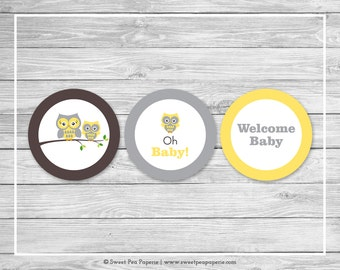 Owl Baby Shower Cupcake Toppers - Printable Baby Shower Cupcake Toppers - Yellow Owl Baby Shower - Owl Cupcake Toppers - Owl Shower - SP133