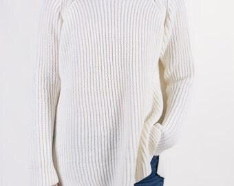 the Slouchy Crew in Off White -knitted sweater (loose fit raglan sleeve cozy minimal pullover)