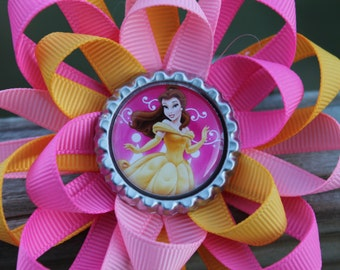 Disney hair bow, Belle hair bow, Disney's Belle, Belle bow, Princess hair bow, Disney bow, Princess bow, girls hair bow, hair bow