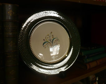 Salem Oven-Proof 24k Gold Decorated Plates with Foral Center, X2