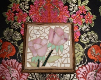Pink roses stainglass mosaic trivet-Sous-plats de roses  en mosaïque