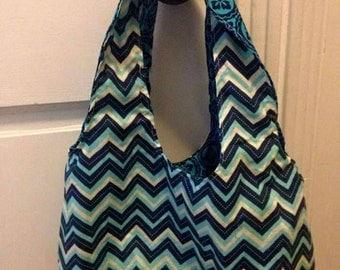 Handmade hobo style reversible handbag. Chevron purse.