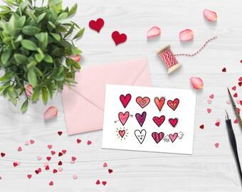 5x7 - Digital Heart Doodle Valentines Card