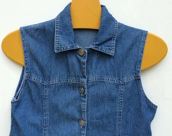 Delicious Denim Button up Mini dress size S 1970s style
