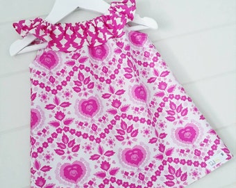Girls Pink & White Ruffle Dress