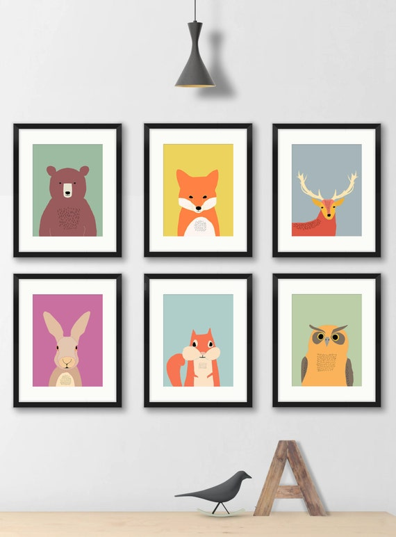 Woodland Nursery Wall Decor : Woodland nursery decor kids wall art by