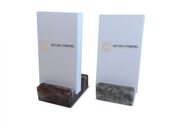 Vertical Business Card Holder Grey and Burgundy Marble