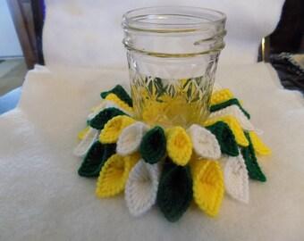 green and yellow jar vase