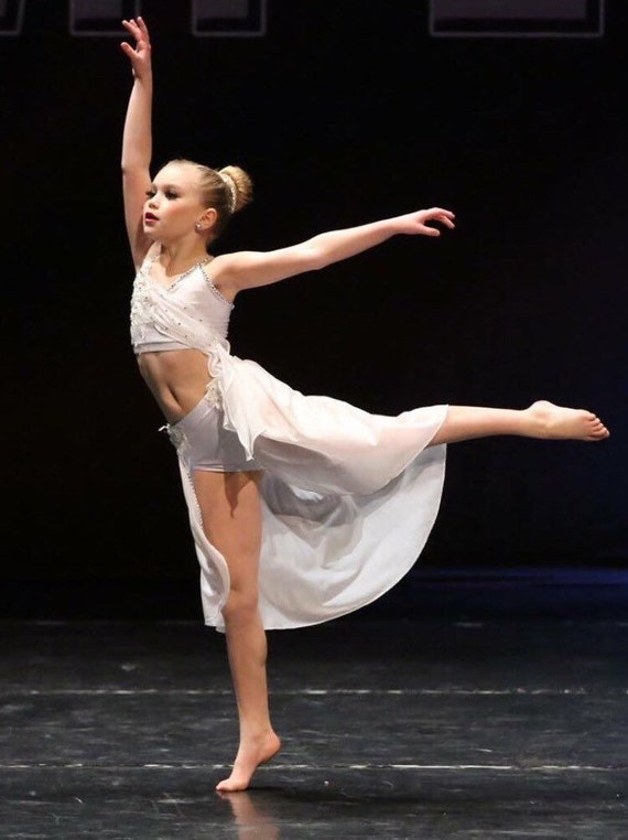 Lyrical dance costume.  White shiny glisinette with silver appliqués ( version/ price without rhinestones)