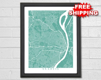 St. Louis Map Art - Map Print - Missouri - Map Print - Home Map - Anniversary Gift - Map Art - Home Decor - Maps - Custom Map