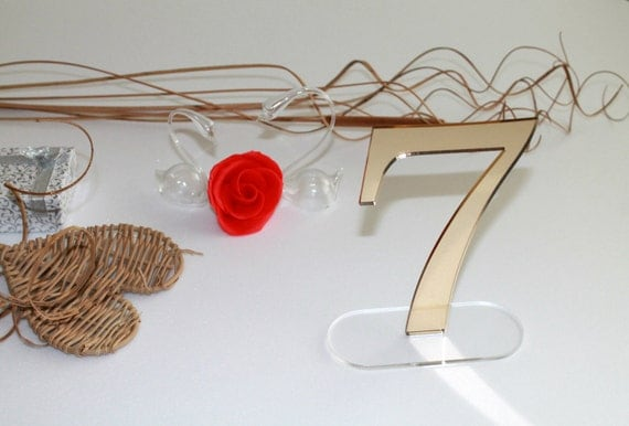 Wedding table number stands Clear base Mirror acrylic table numbers Wedding party Gold wedding number Wedding signs Wedding table decor 6.0""