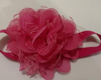 Hot Pink Flower Infant Headband