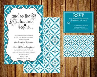 And The Adventure Begins Wedding Invitation