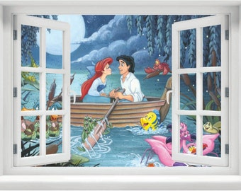 Window with a View Disney's The Little Mermaid Kiss the Girl Scene wall mural