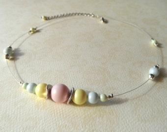 Choker necklace, swarovski crystal pastel pearls choker, pastel choker, tiger tail wire choker