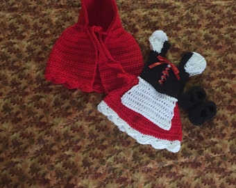 Crochet little red ridding hood inspired costume, baby shower gifts, halloween costume
