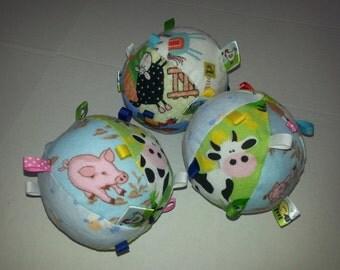 Soft Stuffed Ribbon Taggie Ball Toy - Farm Theme Soft Toy - Baby Shower Gift Set