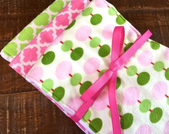 Superior Diaper Burp Cloths, Set of 3,New Baby Girl Gift. Baby's Napkins. Modern Tiles,Pinks,Greens. Cotton Flannel on Premium 6-ply Diapers
