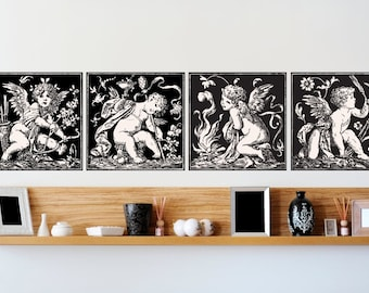 Set of Vintage Angels - Classical Design Wall Decal