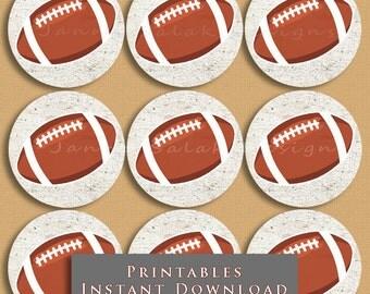 "2.5"" Football Printable Cupcake Toppers or Tags Rustic Vintage Look DIY Printable INSTANT DOWNLOAD"