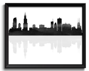 Chicago Skyline Chicago Illinois Cityscape Chicago Wall Art Print Chicago Poster Black White Grey Watercolor Painting