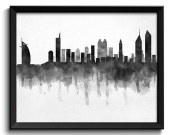 Dubai Skyline United Arab Emirates Cityscape Art Print Poster Black White Grey Watercolor Painting