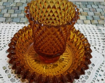 Diamond Point Amber by Indiana Glass Co. Votive peg light with dish. (dish holds taper)