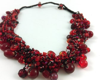 Ruby Red Glass Cluster Bead Necklace