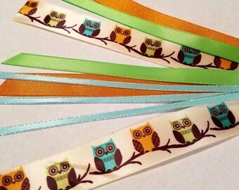 Orange & green owl hair ties