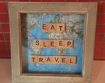 Various scrabble travel themed frames
