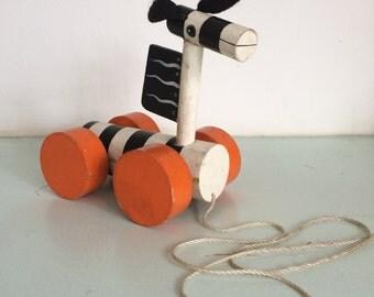 Vintage zebra wooden childrens toy