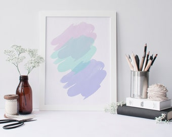 Abstract art print - pastel art print - minimalist print - pastel decor - modern wall art - office art