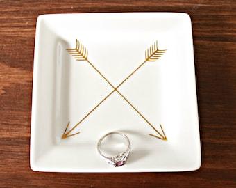 Crossed Arrows Ring Dish, Arrows, Golden Dish