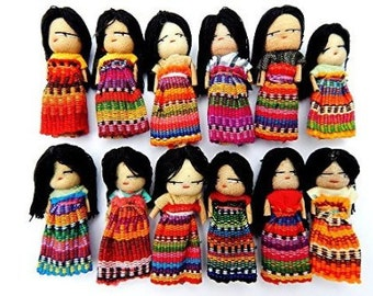 12 Guatemalan Worry Dolls 2 Inch with Hair
