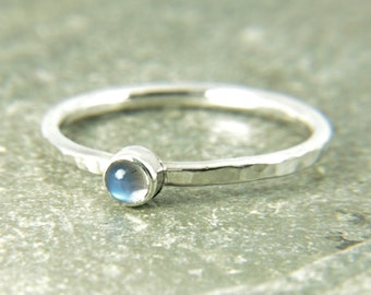 moonstone silver stacking ring, Dainty thin hammered band with tiny rainbow moonstone