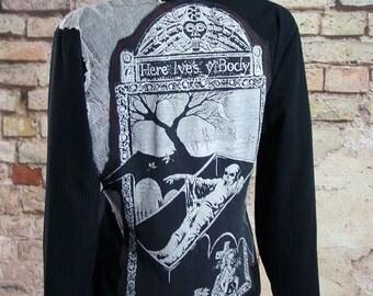 Pinstripe jacket nosferatu vampire gravestone deathrock punk goth size 14