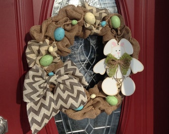 Easter Wreath, Burlap Wreath, Spring Wreath, Burlap Easter Wreath, Front Door Wreath, Holiday Gift, Wall Wreath