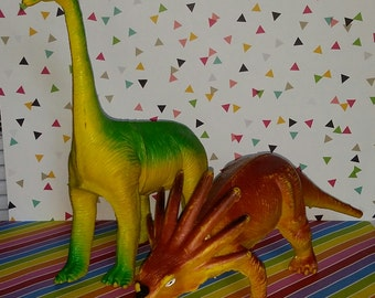 Vintage 1980s Imperial Toys Dinosaur Toys (Triceratops and Brachiosarus)