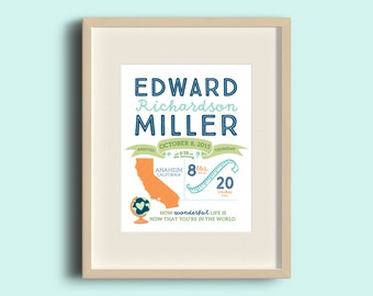 Birth Announcement Print - Personalized Wall Art - Baby Infographic Print - Nursery Decor