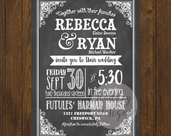 Chalkboard Wedding Invitations, Country Wedding Invitation, Rustic Wedding Invitation,  Chalk Wedding Invitation, Modern Wedding Invitation