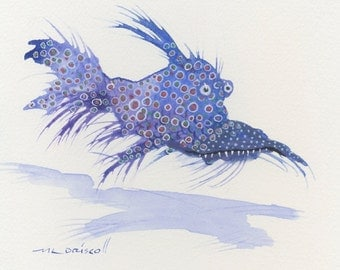 Original watercolor The 'Goggled Grype'  Colorful beastie fish