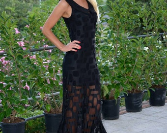 SALES!Black# chic# maxi#dress #Long 162cm#