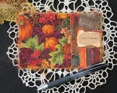 "Give Thanks Fabric Postcard, Fall Greeting Card, Autumn Fabric Card, Handmade Card, Card for Thanksgiving, 4"" x 6"""